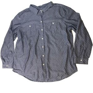 OLD NAVY blue w/ polka dot chambray Button Down
